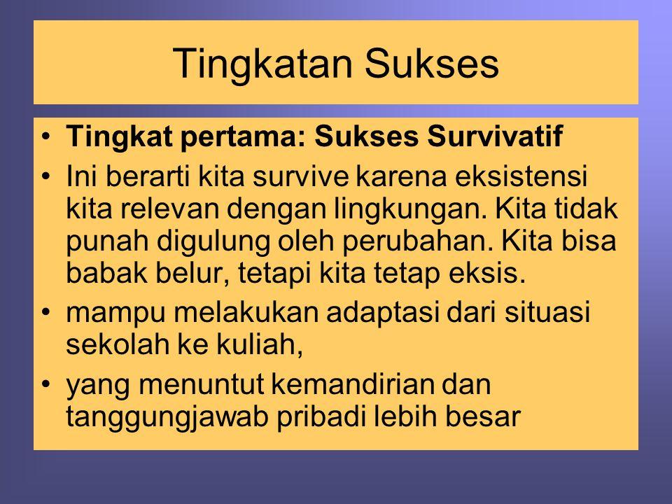 Tingkatan Sukses •Tingkat pertama: Sukses Survivatif •Ini berarti kita survive karena eksistensi kita relevan dengan lingkungan. Kita tidak punah digu