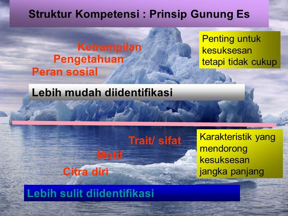 Struktur Kompetensi : Prinsip Gunung Es Peran sosial Pengetahuan Ketrampilan Lebih mudah diidentifikasi Karakteristik yang mendorong kesuksesan jangka