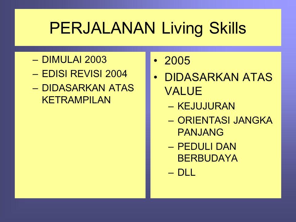 PERJALANAN Living Skills –DIMULAI 2003 –EDISI REVISI 2004 –DIDASARKAN ATAS KETRAMPILAN •2005 •DIDASARKAN ATAS VALUE –KEJUJURAN –ORIENTASI JANGKA PANJA