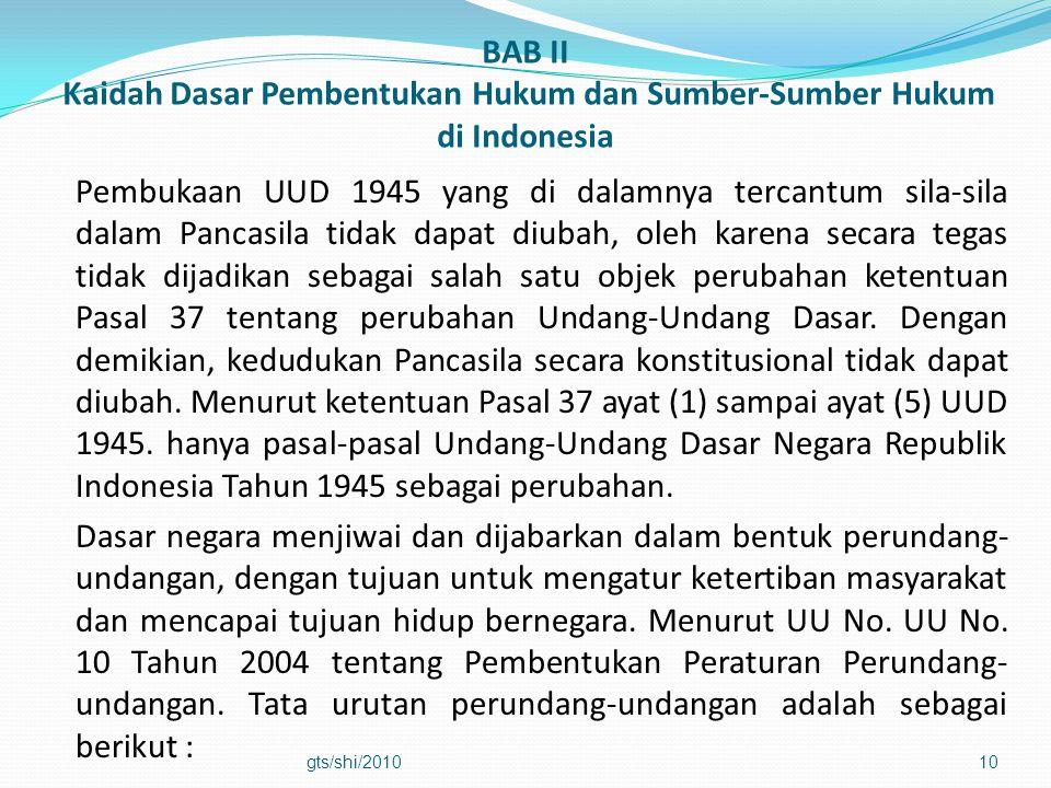 BAB II Kaidah Dasar Pembentukan Hukum dan Sumber-Sumber Hukum di Indonesia Pembukaan UUD 1945 yang di dalamnya tercantum sila-sila dalam Pancasila tid