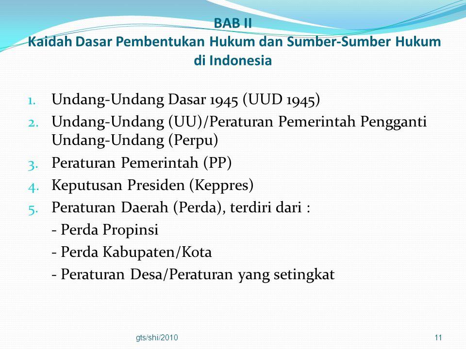 BAB II Kaidah Dasar Pembentukan Hukum dan Sumber-Sumber Hukum di Indonesia 1. Undang-Undang Dasar 1945 (UUD 1945) 2. Undang-Undang (UU)/Peraturan Peme