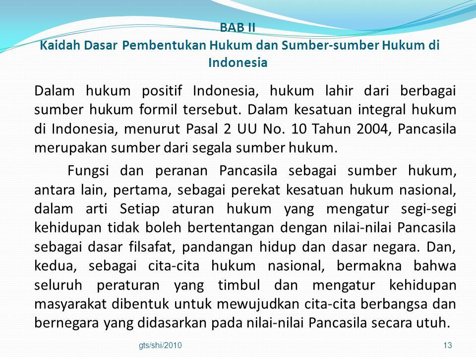 BAB II Kaidah Dasar Pembentukan Hukum dan Sumber-sumber Hukum di Indonesia Dalam hukum positif Indonesia, hukum lahir dari berbagai sumber hukum formi