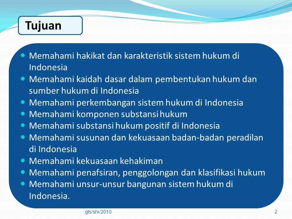 2  Memahami hakikat dan karakteristik sistem hukum di Indonesia  Memahami kaidah dasar dalam pembentukan hukum dan sumber hukum di Indonesia  Memah