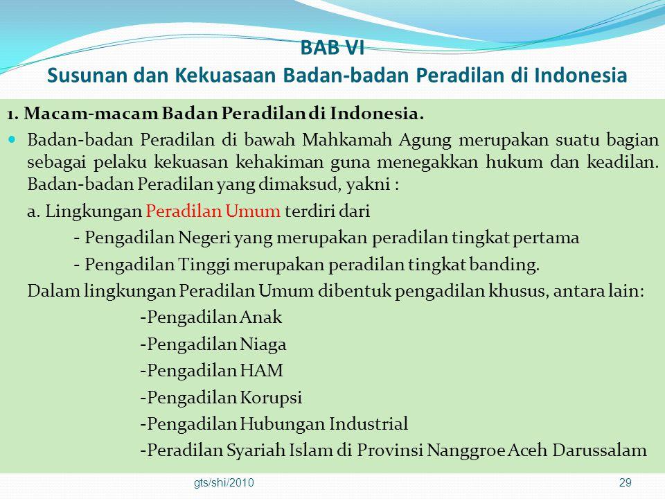 BAB VI Susunan dan Kekuasaan Badan-badan Peradilan di Indonesia 1. Macam-macam Badan Peradilan di Indonesia.  Badan-badan Peradilan di bawah Mahkamah