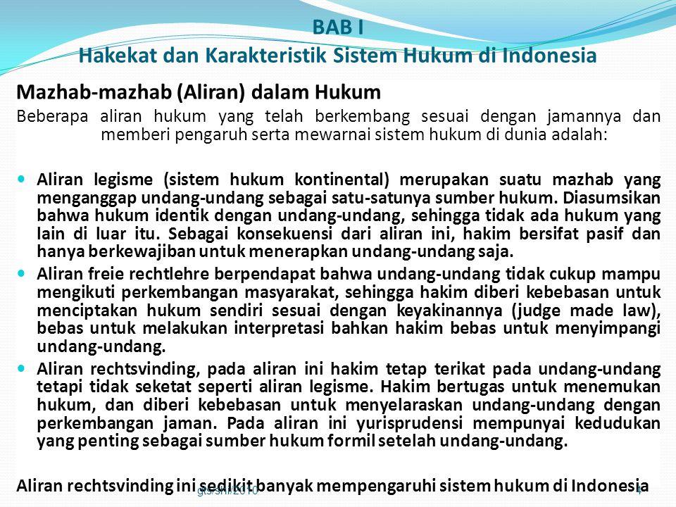 BAB I Hakekat dan Karakteristik Sistem Hukum di Indonesia Mazhab-mazhab (Aliran) dalam Hukum Beberapa aliran hukum yang telah berkembang sesuai dengan