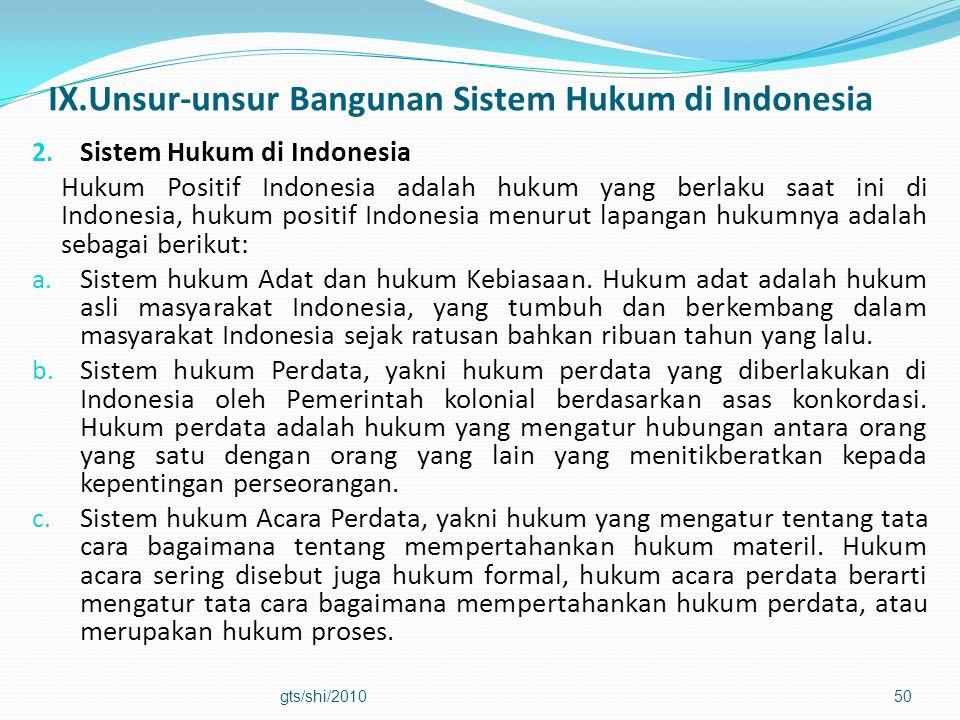 IX.Unsur-unsur Bangunan Sistem Hukum di Indonesia 2. Sistem Hukum di Indonesia Hukum Positif Indonesia adalah hukum yang berlaku saat ini di Indonesia