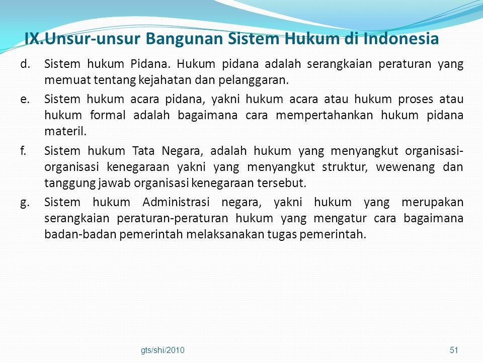 IX.Unsur-unsur Bangunan Sistem Hukum di Indonesia d.Sistem hukum Pidana. Hukum pidana adalah serangkaian peraturan yang memuat tentang kejahatan dan p