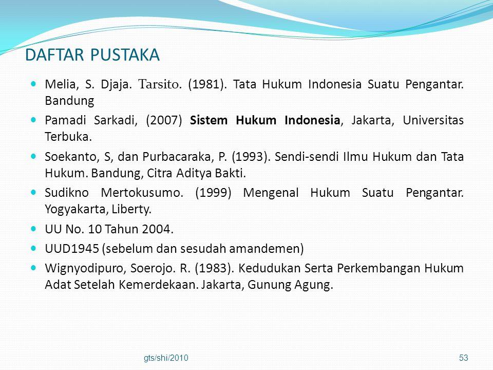 DAFTAR PUSTAKA  Melia, S. Djaja. Tarsito. (1981). Tata Hukum Indonesia Suatu Pengantar. Bandung  Pamadi Sarkadi, (2007) Sistem Hukum Indonesia, Jaka
