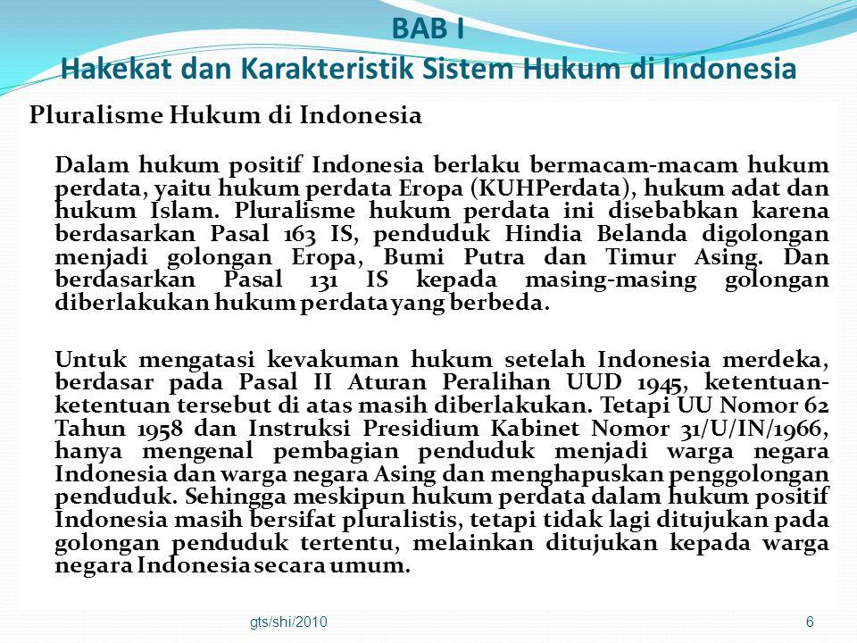 BAB I Hakekat dan Karakteristik Sistem Hukum di Indonesia Pluralisme Hukum di Indonesia Dalam hukum positif Indonesia berlaku bermacam-macam hukum per