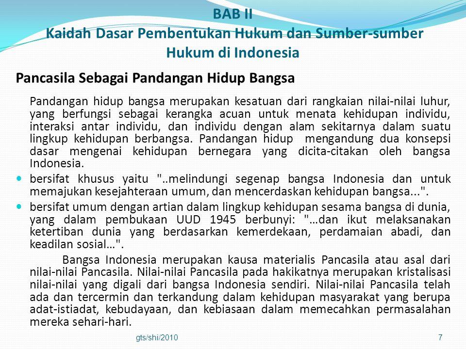 BAB II Kaidah Dasar Pembentukan Hukum dan Sumber-sumber Hukum di Indonesia Pancasila Sebagai Pandangan Hidup Bangsa Pandangan hidup bangsa merupakan k