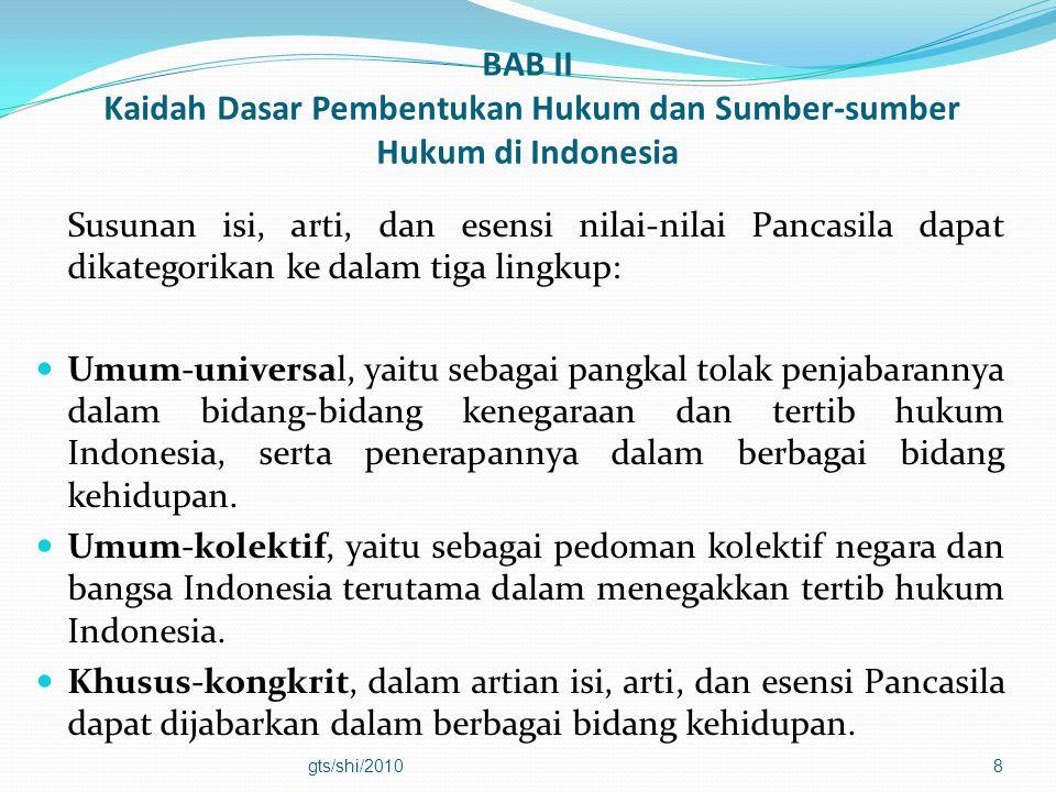 BAB II Kaidah Dasar Pembentukan Hukum dan Sumber-sumber Hukum di Indonesia Susunan isi, arti, dan esensi nilai-nilai Pancasila dapat dikategorikan ke