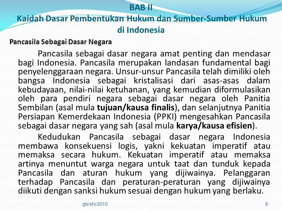 BAB II Kaidah Dasar Pembentukan Hukum dan Sumber-Sumber Hukum di Indonesia Pancasila Sebagai Dasar Negara Pancasila sebagai dasar negara amat penting