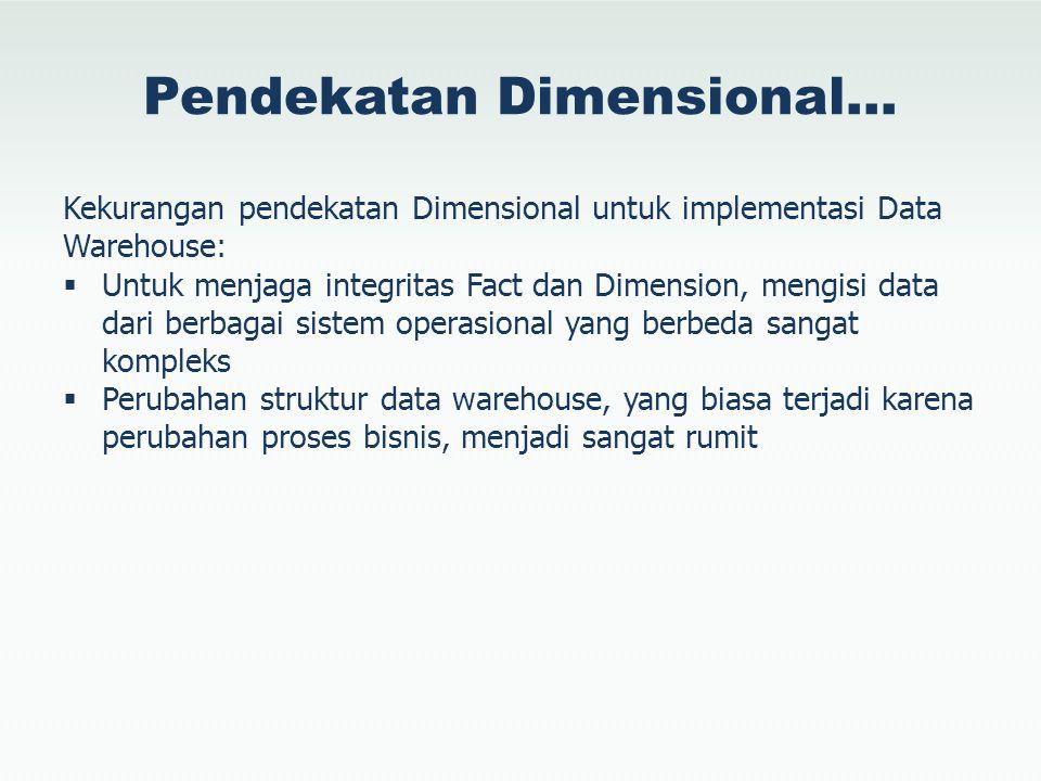 Pendekatan Dimensional… Kekurangan pendekatan Dimensional untuk implementasi Data Warehouse:  Untuk menjaga integritas Fact dan Dimension, mengisi da