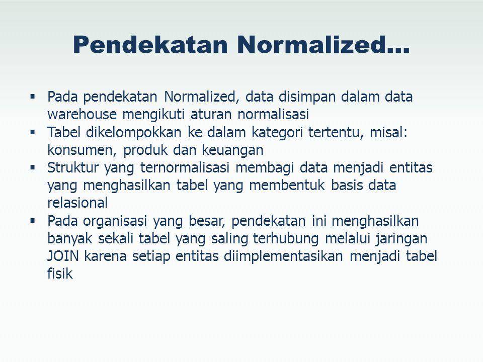 Pendekatan Normalized…  Pada pendekatan Normalized, data disimpan dalam data warehouse mengikuti aturan normalisasi  Tabel dikelompokkan ke dalam ka
