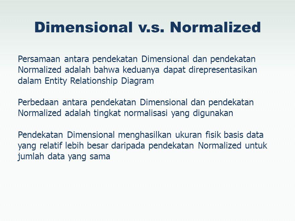 Dimensional v.s. Normalized Persamaan antara pendekatan Dimensional dan pendekatan Normalized adalah bahwa keduanya dapat direpresentasikan dalam Enti