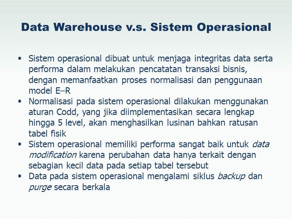Data Warehouse v.s. Sistem Operasional  Sistem operasional dibuat untuk menjaga integritas data serta performa dalam melakukan pencatatan transaksi b