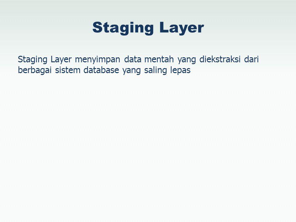 Staging Layer Staging Layer menyimpan data mentah yang diekstraksi dari berbagai sistem database yang saling lepas