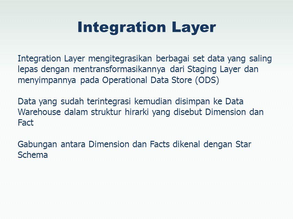 Integration Layer Integration Layer mengitegrasikan berbagai set data yang saling lepas dengan mentransformasikannya dari Staging Layer dan menyimpann