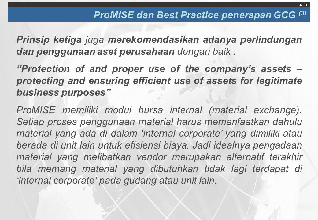 p. 11 ProMISE dan Best Practice penerapan GCG (3) Prinsip ketiga juga merekomendasikan adanya perlindungan dan penggunaan aset perusahaan dengan baik