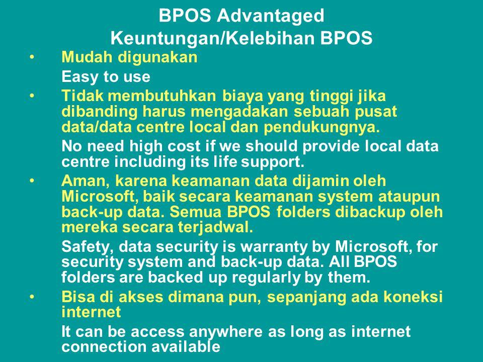 BPOS Advantaged Keuntungan/Kelebihan BPOS •Mudah digunakan Easy to use •Tidak membutuhkan biaya yang tinggi jika dibanding harus mengadakan sebuah pusat data/data centre local dan pendukungnya.