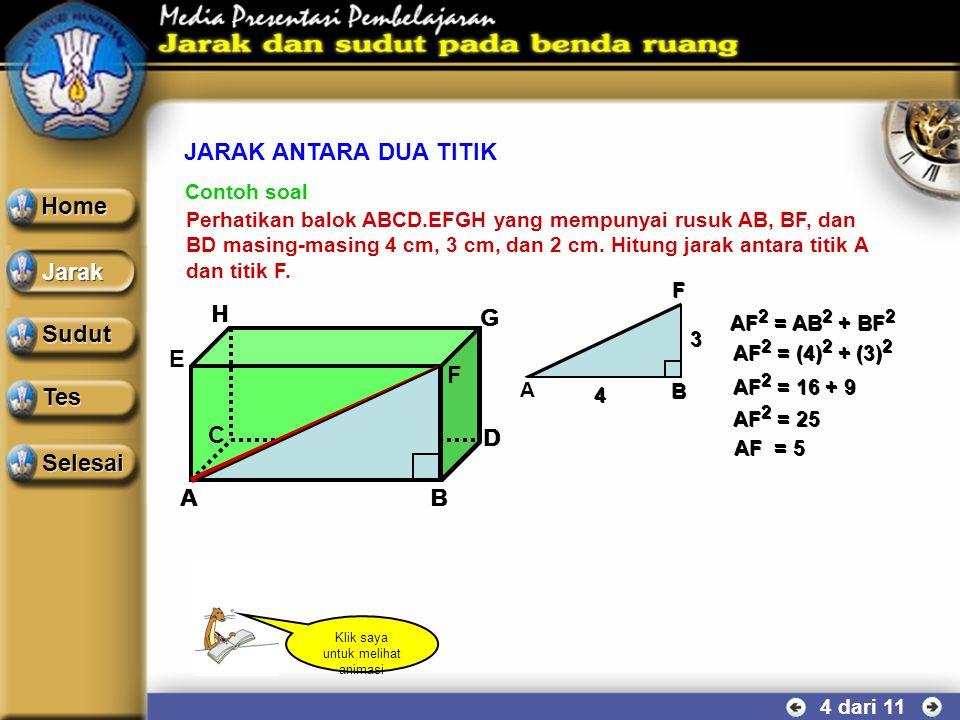 JARAK ANTARA DUA TITIK DAN ANTARA TITIK DAN GARIS 3 dari 11 g A B g A B Garis AB bersifat tegak lurus terhadap garis g. Panjang segmen garis AB (proye