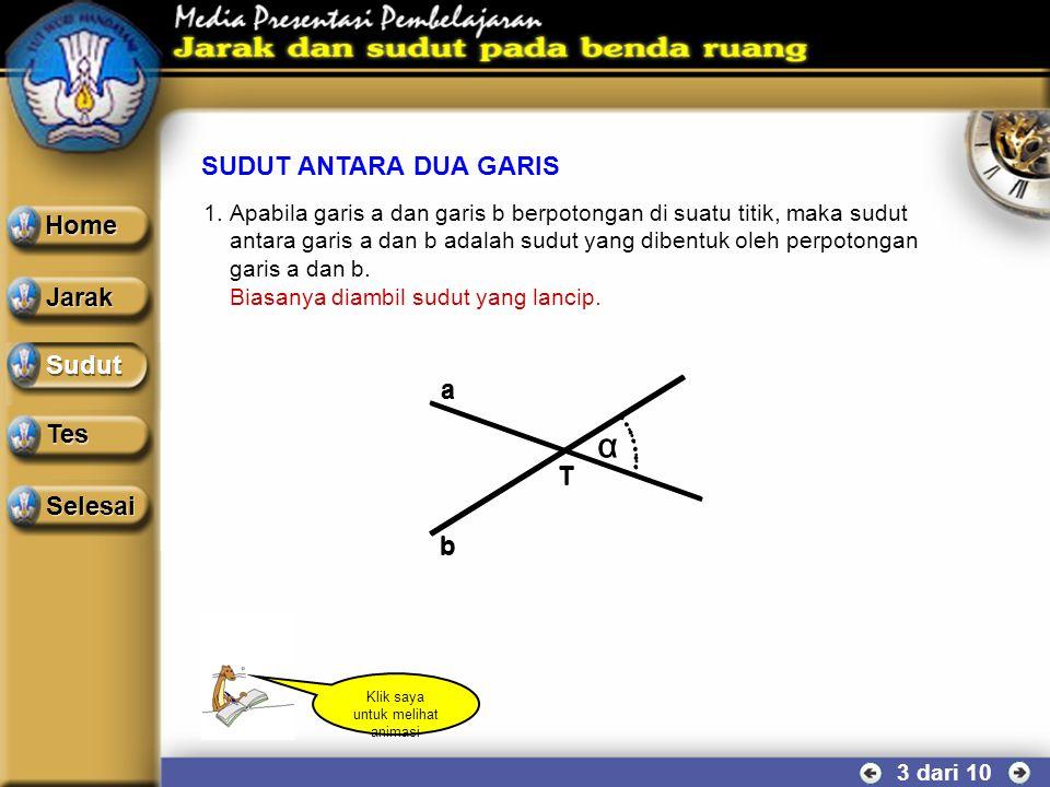 PROYEKSI GARIS TERHADAP BIDANG 2 dari 10 α A A B B C C α A A B B C C Garis AB dan garis AC berpotongan di titik A, maka sudut antara garis AB dan gari