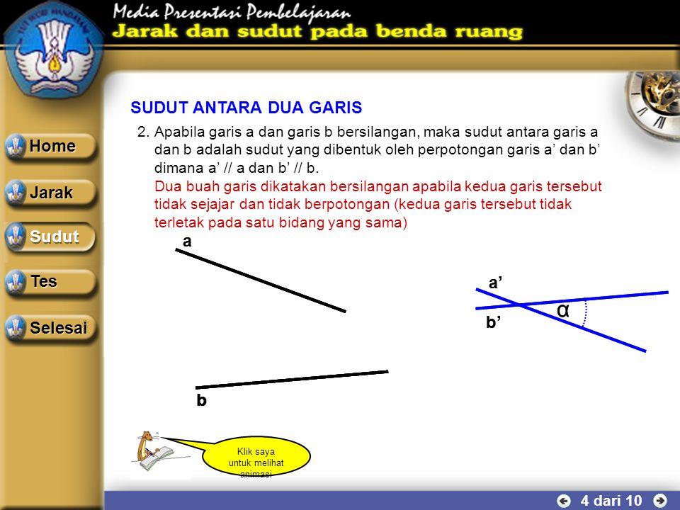 T a b α SUDUT ANTARA DUA GARIS 3 dari 10 1.Apabila garis a dan garis b berpotongan di suatu titik, maka sudut antara garis a dan b adalah sudut yang d