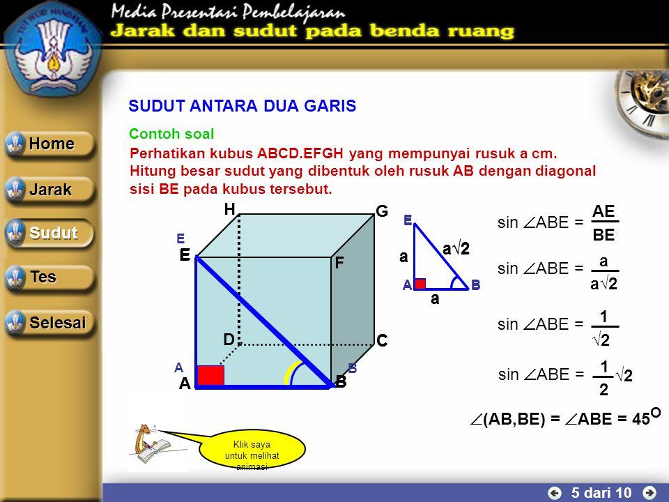 SUDUT ANTARA DUA GARIS 4 dari 10 2.Apabila garis a dan garis b bersilangan, maka sudut antara garis a dan b adalah sudut yang dibentuk oleh perpotonga