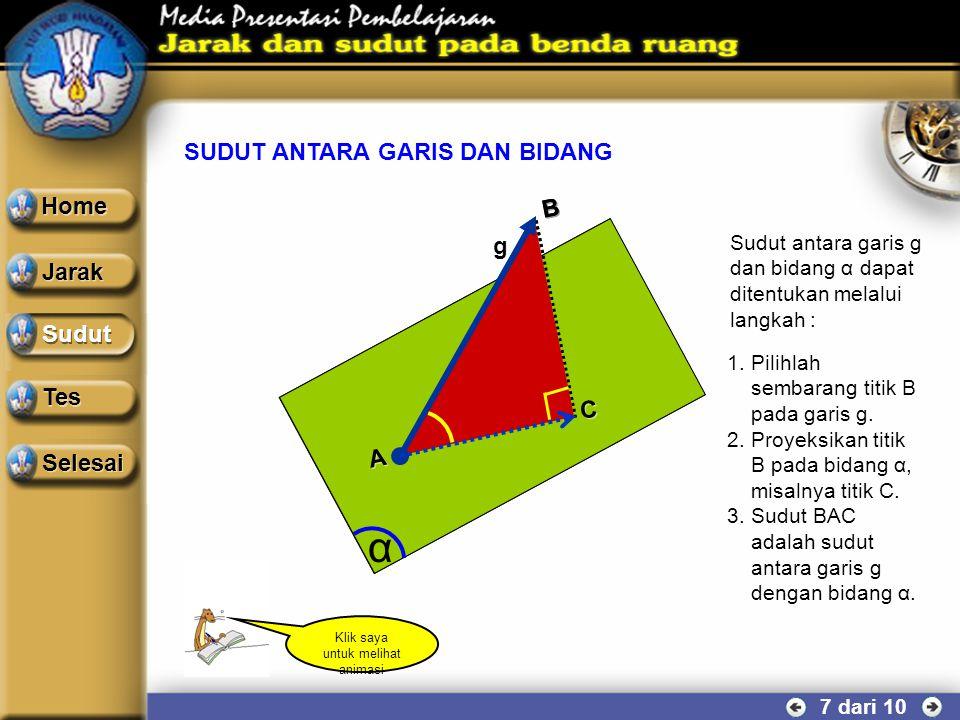 SUDUT ANTARA DUA GARIS 6 dari 10 Contoh soal Perhatikan kubus ABCD.EFGH yang mempunyai rusuk a cm. Hitung besar sudut yang dibentuk oleh diagonal sisi