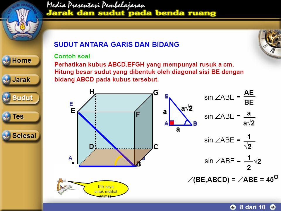 SUDUT ANTARA GARIS DAN BIDANG 7 dari 10 α A A B B C C α A A B B C C Sudut antara garis g dan bidang α dapat ditentukan melalui langkah : g 1.Pilihlah