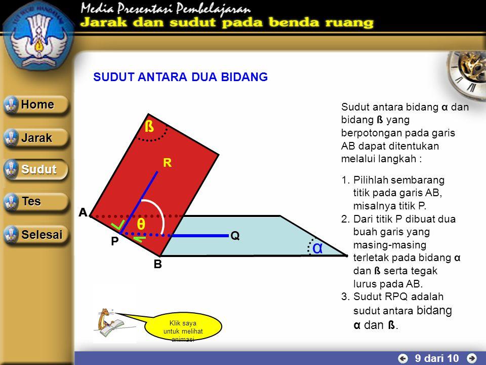 SUDUT ANTARA GARIS DAN BIDANG 8 dari 10 Contoh soal Perhatikan kubus ABCD.EFGH yang mempunyai rusuk a cm. Hitung besar sudut yang dibentuk oleh diagon