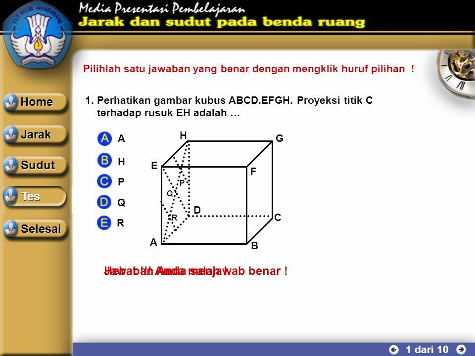 SUDUT ANTARA DUA BIDANG 10 dari 10 Contoh soal Perhatikan kubus ABCD.EFGH yang mempunyai rusuk a cm. Hitung besar sudut yang dibentuk oleh bidang BCHE