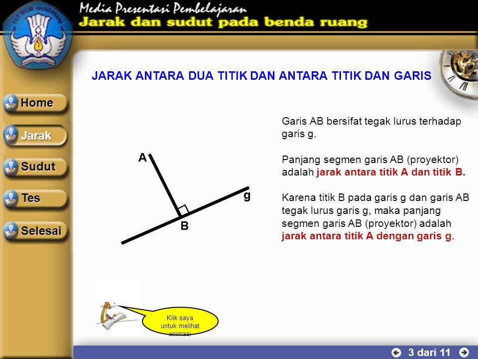 PROYEKSI TITIK TERHADAP GARIS 2 dari 11 g A B g A B Segmen garis penghubung antara titik A dengan titik B disebut garis proyektor. Garis poyektor bers