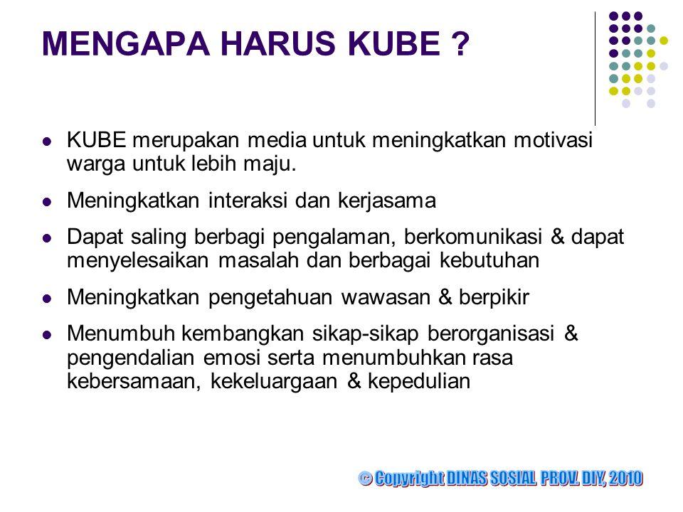 MENGAPA HARUS KUBE ?  KUBE merupakan media untuk meningkatkan motivasi warga untuk lebih maju.  Meningkatkan interaksi dan kerjasama  Dapat saling