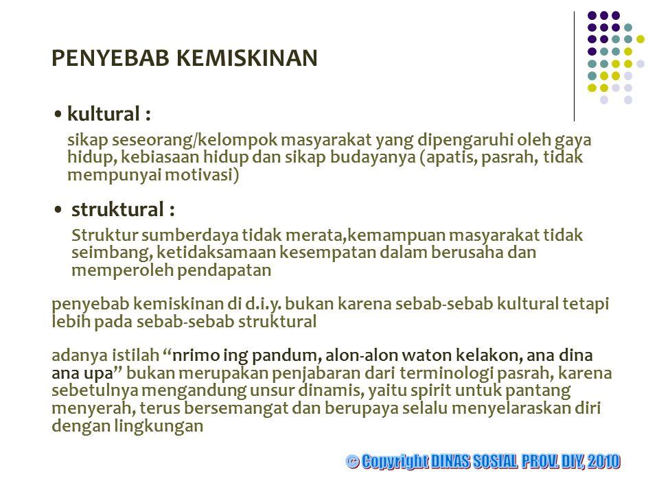 PENYEBAB KEMISKINAN •kultural : sikap seseorang/kelompok masyarakat yang dipengaruhi oleh gaya hidup, kebiasaan hidup dan sikap budayanya (apatis, pas