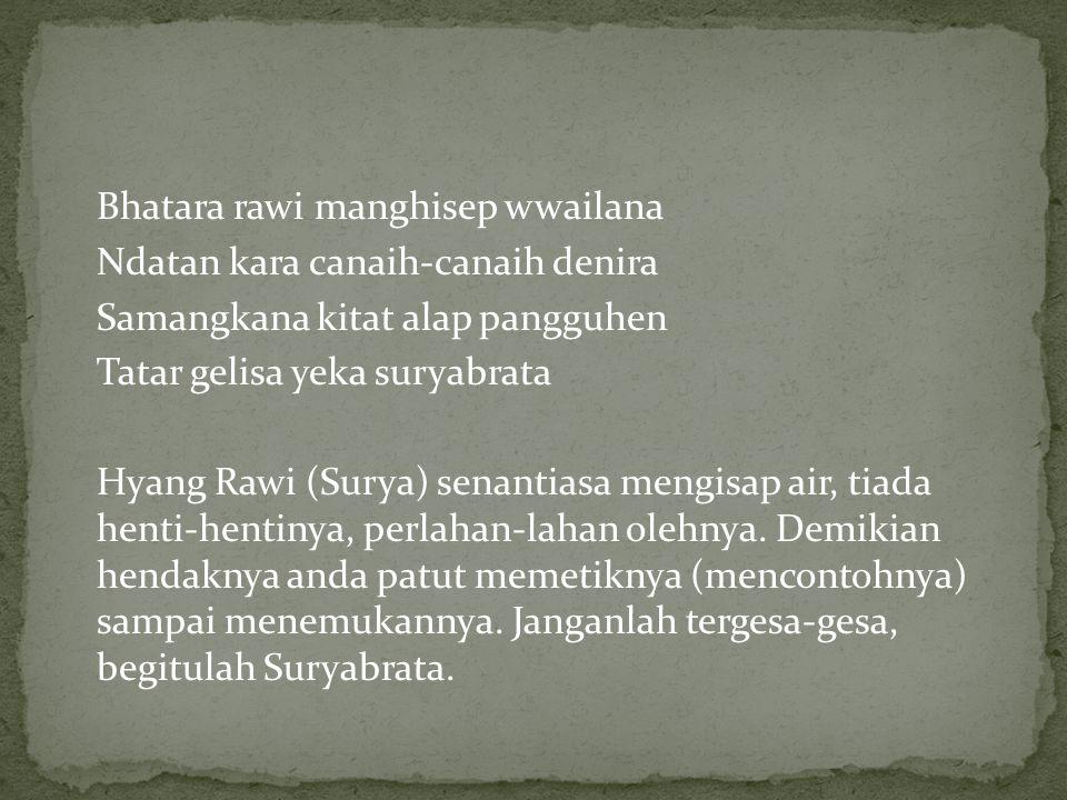 Bhatara rawi manghisep wwailana Ndatan kara canaih-canaih denira Samangkana kitat alap pangguhen Tatar gelisa yeka suryabrata Hyang Rawi (Surya) senan