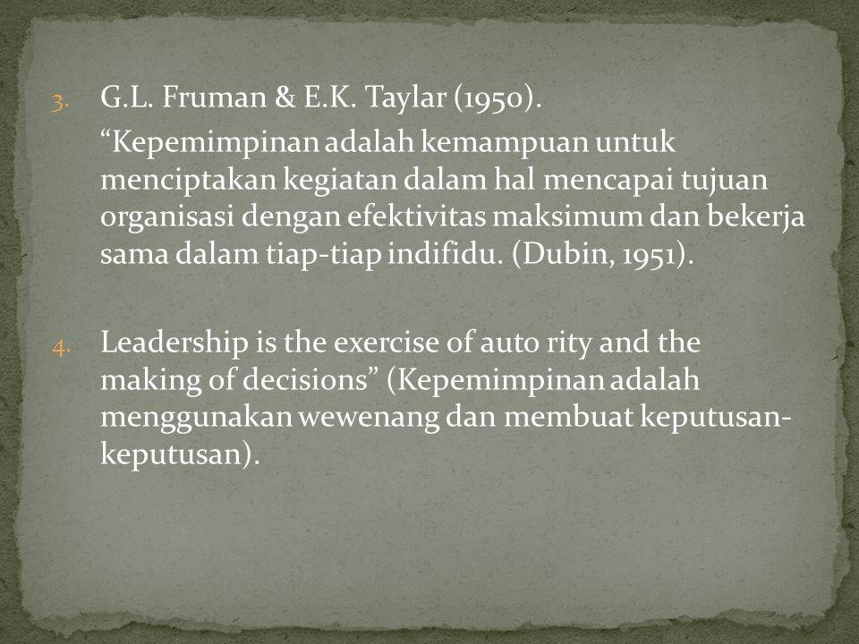 """3. G.L. Fruman & E.K. Taylar (1950). """"Kepemimpinan adalah kemampuan untuk menciptakan kegiatan dalam hal mencapai tujuan organisasi dengan efektivitas"""