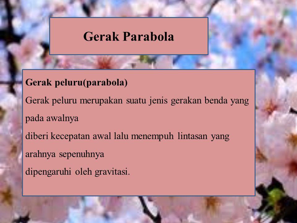 Gerak Parabola Gerak peluru(parabola) Gerak peluru merupakan suatu jenis gerakan benda yang pada awalnya diberi kecepatan awal lalu menempuh lintasan