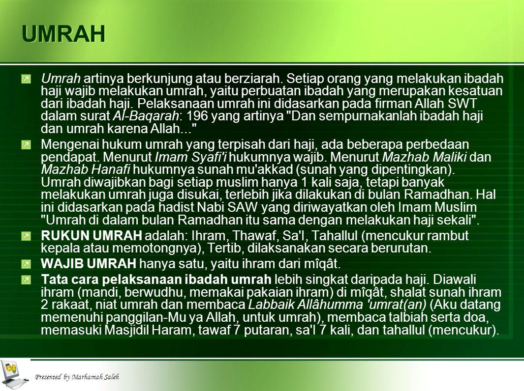Presented by Marhamah Saleh MIQAT Mîqât adalah batas waktu dan tempat melakukan ibadah haji dan umrah.