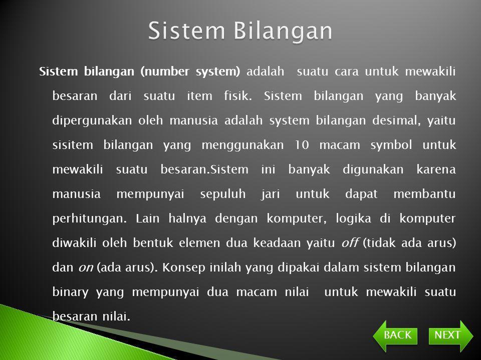 Sistem bilangan (number system) adalah suatu cara untuk mewakili besaran dari suatu item fisik.