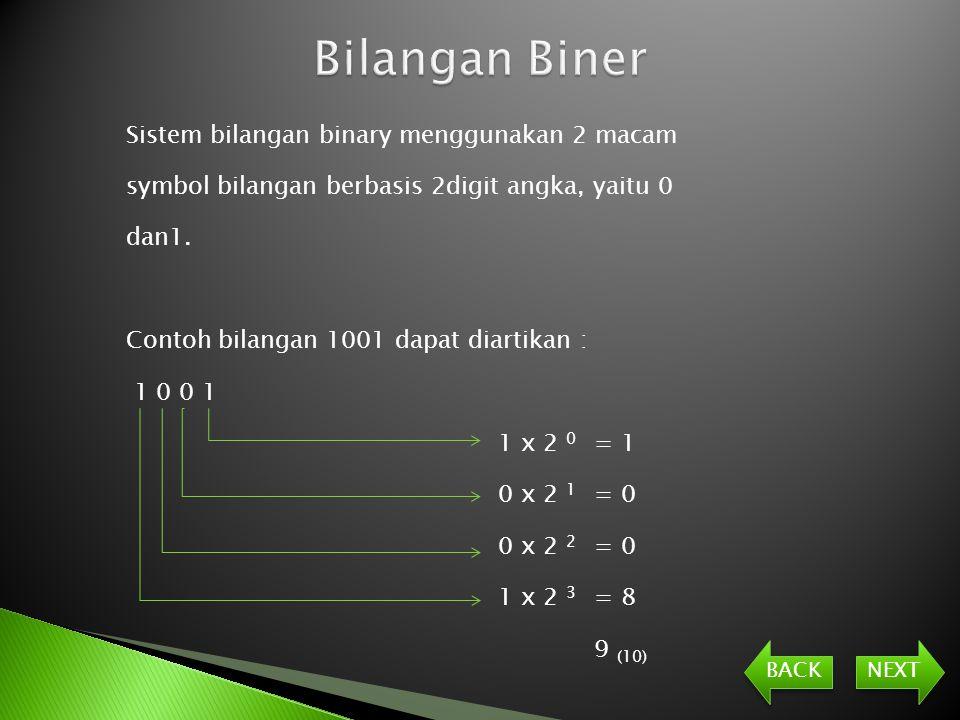 Sistem bilangan binary menggunakan 2 macam symbol bilangan berbasis 2digit angka, yaitu 0 dan1.