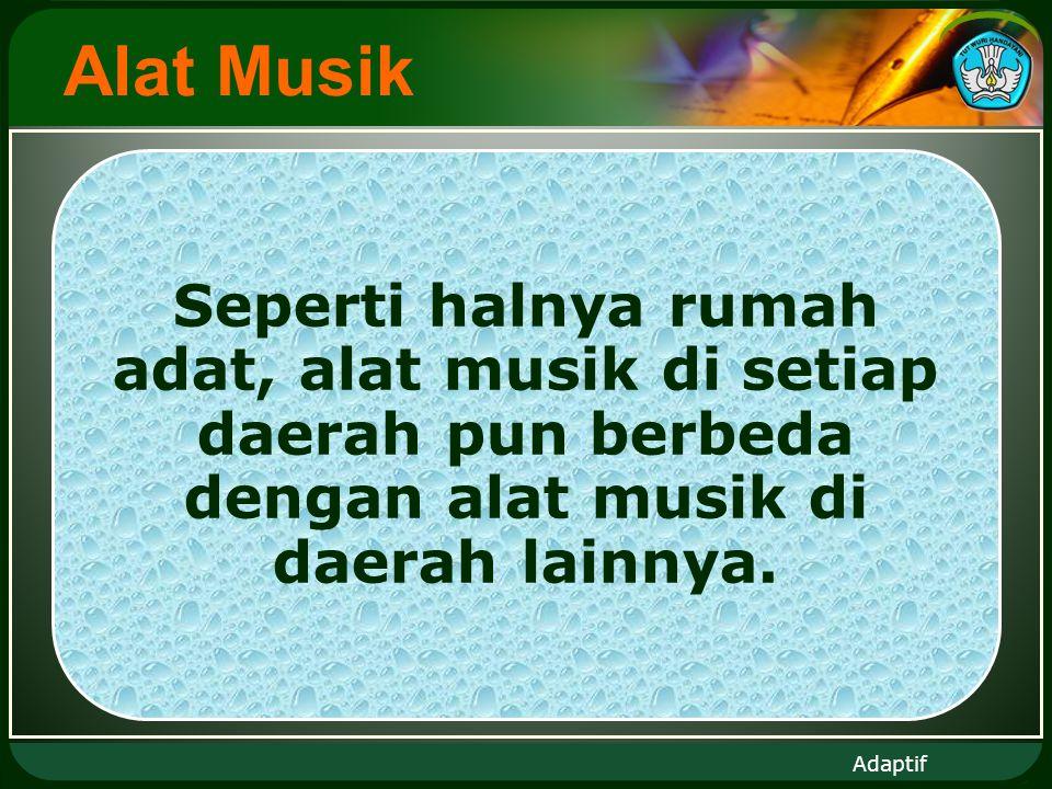 Adaptif Alat Musik Seperti halnya rumah adat, alat musik di setiap daerah pun berbeda dengan alat musik di daerah lainnya.
