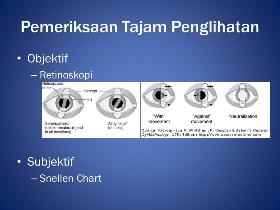 • Jarak 6 m (20ft) • Mata kanan lebih dulu / mata yang sakit • Koreksi pinhole  kelainan refraksi • Koreksi sferis plus • Koreksi sferis negatif