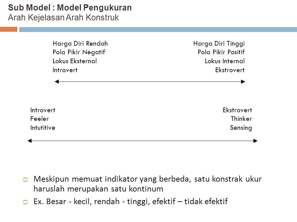 Sub Model : Model Pengukuran Arah Kejelasan Arah Konstruk  Meskipun memuat indikator yang berbeda, satu konstrak ukur haruslah merupakan satu kontinu