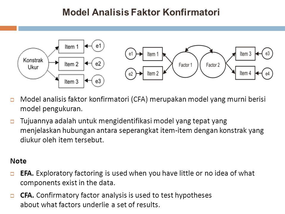 Model Analisis Faktor Konfirmatori  Model analisis faktor konfirmatori (CFA) merupakan model yang murni berisi model pengukuran.  Tujuannya adalah u