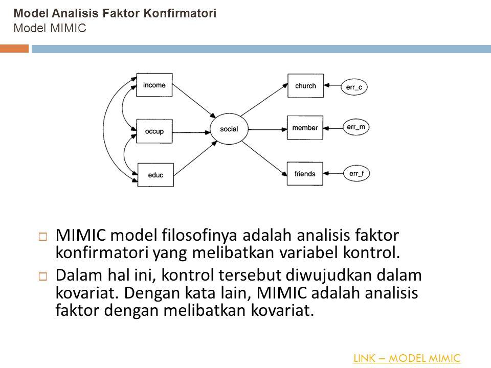 Model Analisis Faktor Konfirmatori Model MIMIC  MIMIC model filosofinya adalah analisis faktor konfirmatori yang melibatkan variabel kontrol.  Dalam