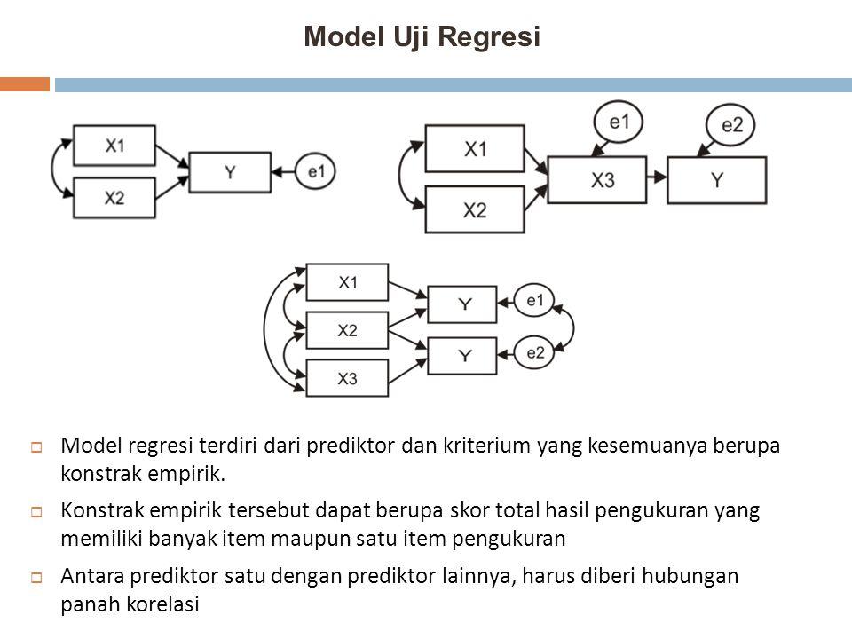 Model Uji Regresi  Model regresi terdiri dari prediktor dan kriterium yang kesemuanya berupa konstrak empirik.  Konstrak empirik tersebut dapat beru