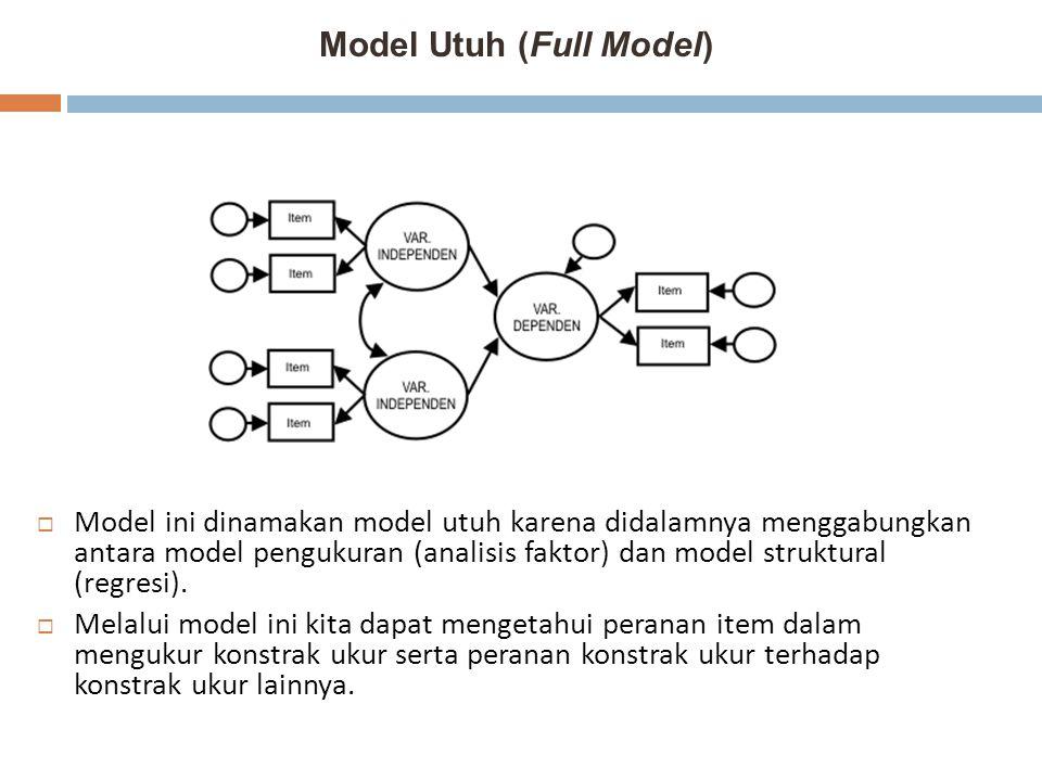 Model Utuh (Full Model)  Model ini dinamakan model utuh karena didalamnya menggabungkan antara model pengukuran (analisis faktor) dan model struktura