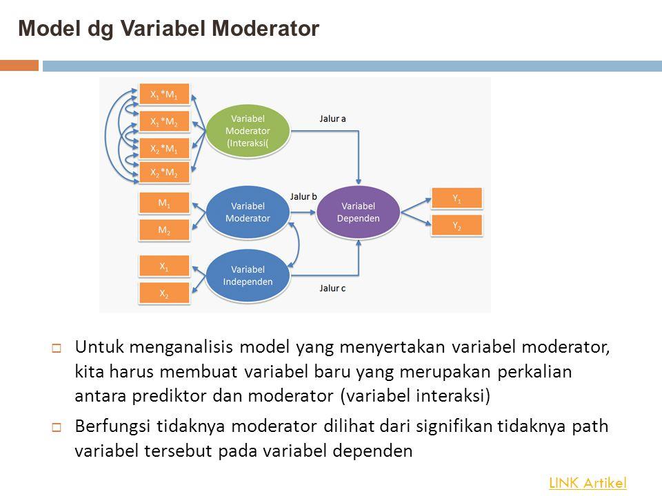 Model dg Variabel Moderator  Untuk menganalisis model yang menyertakan variabel moderator, kita harus membuat variabel baru yang merupakan perkalian