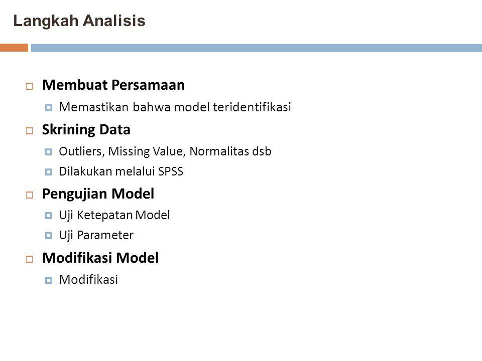 Langkah Analisis  Membuat Persamaan  Memastikan bahwa model teridentifikasi  Skrining Data  Outliers, Missing Value, Normalitas dsb  Dilakukan me